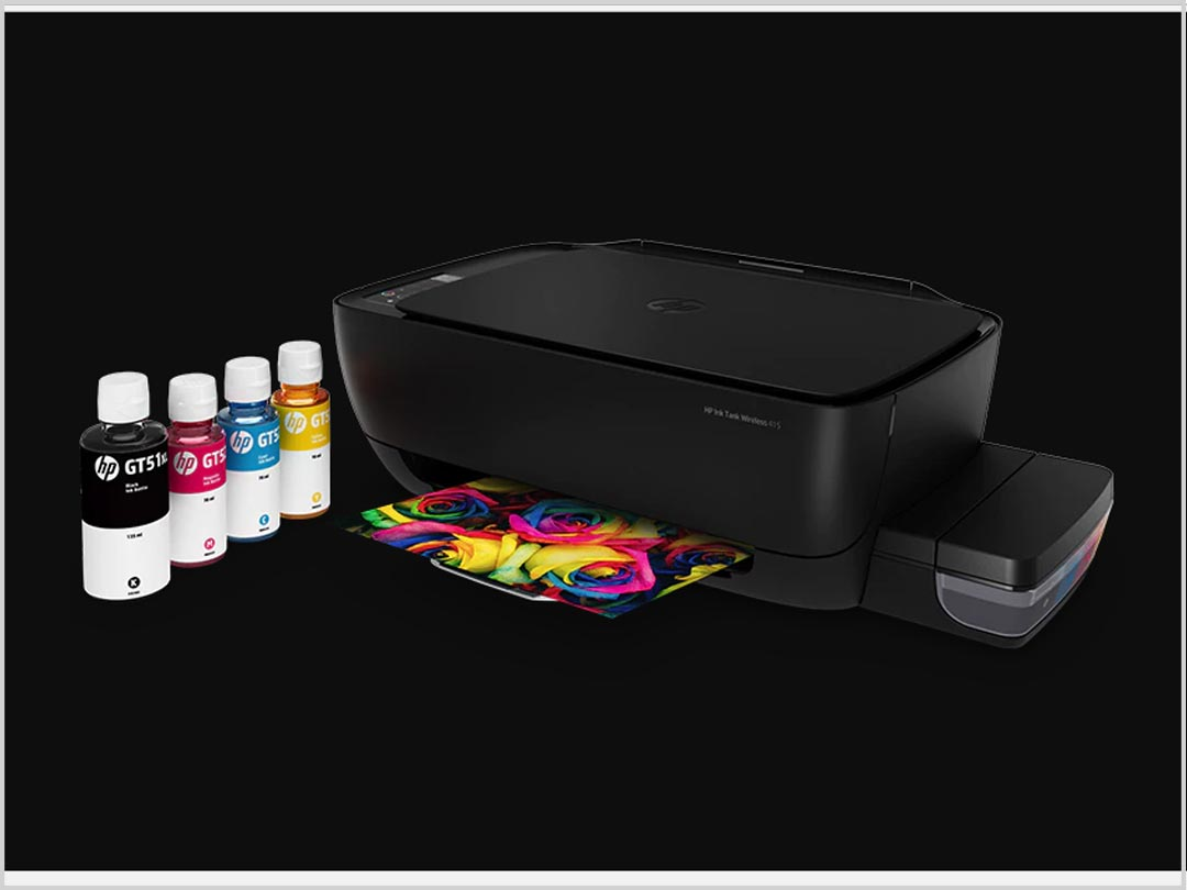 HP Ink Tank System prints up to 8,000 colour or 6,000 black pages from a spill-free refill system.1